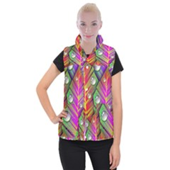 Abstract Background Colorful Leaves Women s Button Up Puffer Vest
