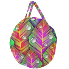 Abstract Background Colorful Leaves Giant Round Zipper Tote