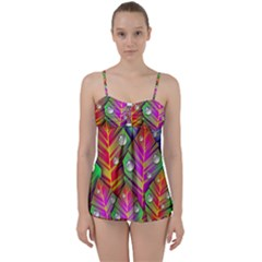 Abstract Background Colorful Leaves Babydoll Tankini Set