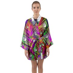 Abstract Background Colorful Leaves Long Sleeve Kimono Robe