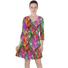 Abstract Background Colorful Leaves Ruffle Dress