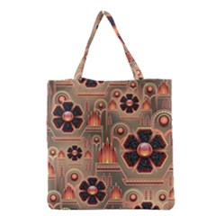 Background Floral Flower Stylised Grocery Tote Bag