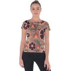 Background Floral Flower Stylised Short Sleeve Sports Top