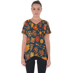 Pattern Background Ethnic Tribal Cut Out Side Drop Tee