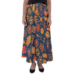 Pattern Background Ethnic Tribal Flared Maxi Skirt