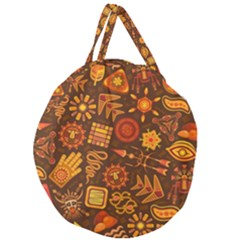 Pattern Background Ethnic Tribal Giant Round Zipper Tote