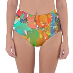 Background Colorful Abstract Reversible High Waist Bikini Bottoms