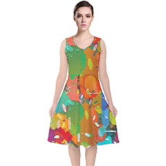Background Colorful Abstract V-neck Midi Sleeveless Dress