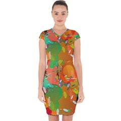 Background Colorful Abstract Capsleeve Drawstring Dress