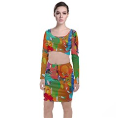 Background Colorful Abstract Long Sleeve Crop Top & Bodycon Skirt Set
