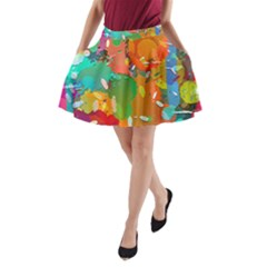 Background Colorful Abstract A Line Pocket Skirt