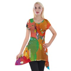 Background Colorful Abstract Short Sleeve Side Drop Tunic