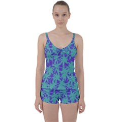 Electric Palm Tree Tie Front Two Piece Tankini