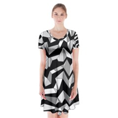 Polynoise Lowpoly Short Sleeve V Neck Flare Dress