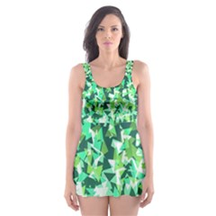 Green Disintegrate Skater Dress Swimsuit by jumpercat