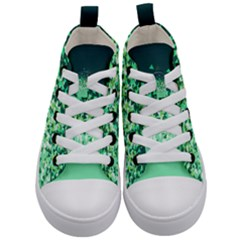 Green Disintegrate Kid s Mid Top Canvas Sneakers