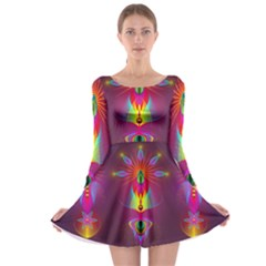Abstract Bright Colorful Background Long Sleeve Skater Dress by Nexatart