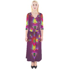 Abstract Bright Colorful Background Quarter Sleeve Wrap Maxi Dress