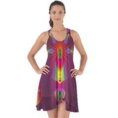 Abstract Bright Colorful Background Show Some Back Chiffon Dress