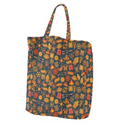 Pattern Background Ethnic Tribal Giant Grocery Zipper Tote
