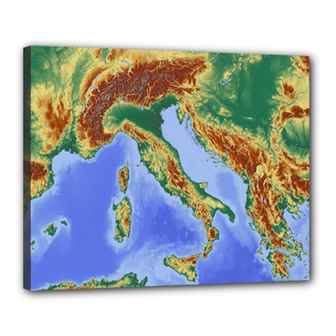 Italy Alpine Alpine Region Map Canvas 20  X 16  by Nexatart