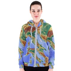 Italy Alpine Alpine Region Map Women s Zipper Hoodie