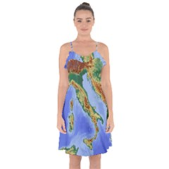 Italy Alpine Alpine Region Map Ruffle Detail Chiffon Dress