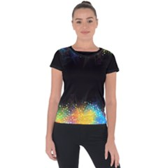 Frame Border Feathery Blurs Design Short Sleeve Sports Top