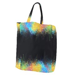 Frame Border Feathery Blurs Design Giant Grocery Zipper Tote