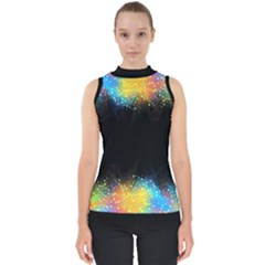 Frame Border Feathery Blurs Design Shell Top