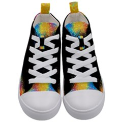 Frame Border Feathery Blurs Design Kid s Mid Top Canvas Sneakers