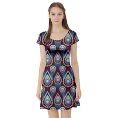 Seamless Pattern Pattern Short Sleeve Skater Dress