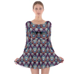 Seamless Pattern Pattern Long Sleeve Skater Dress by Nexatart