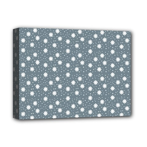 Floral Dots Blue Deluxe Canvas 16  X 12
