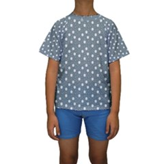 Floral Dots Blue Kids  Short Sleeve Swimwear by snowwhitegirl