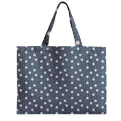 Floral Dots Blue Zipper Mini Tote Bag by snowwhitegirl