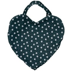 Floral Dots Teal Giant Heart Shaped Tote by snowwhitegirl