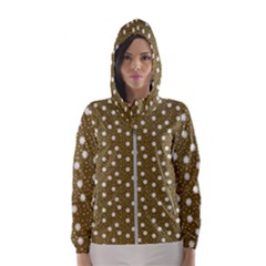 Floral Dots Brown Hooded Wind Breaker (women)