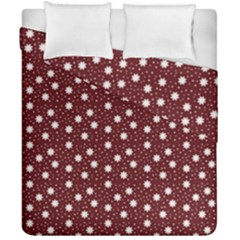 Floral Dots Maroon Duvet Cover Double Side (california King Size)