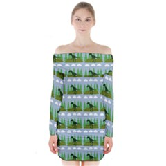 Dino In The Mountains Blue Long Sleeve Off Shoulder Dress by snowwhitegirl