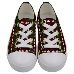 Dino In The Mountains Red Kids  Low Top Canvas Sneakers