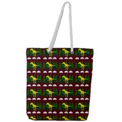Dino In The Mountains Red Full Print Rope Handle Tote (large)