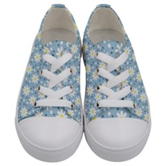 Daisy Dots Light Blue Kids  Low Top Canvas Sneakers
