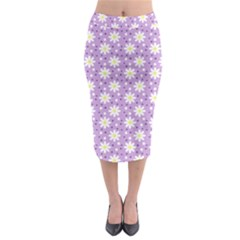 Daisy Dots Lilac Midi Pencil Skirt by snowwhitegirl