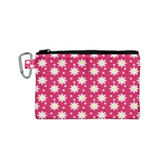 Daisy Dots Light Red Canvas Cosmetic Bag (small) by snowwhitegirl