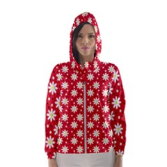 Daisy Dots Red Hooded Wind Breaker (women)