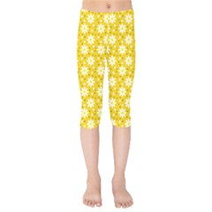 Daisy Dots Yellow Kids  Capri Leggings  by snowwhitegirl