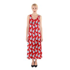 Square Flowers Red Sleeveless Maxi Dress