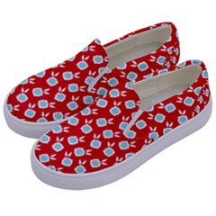 Square Flowers Red Kids  Canvas Slip Ons by snowwhitegirl