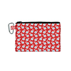 Square Flowers Red Canvas Cosmetic Bag (small) by snowwhitegirl